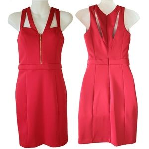 Guess Red Cutout Bodycon Dress with Gold Accents